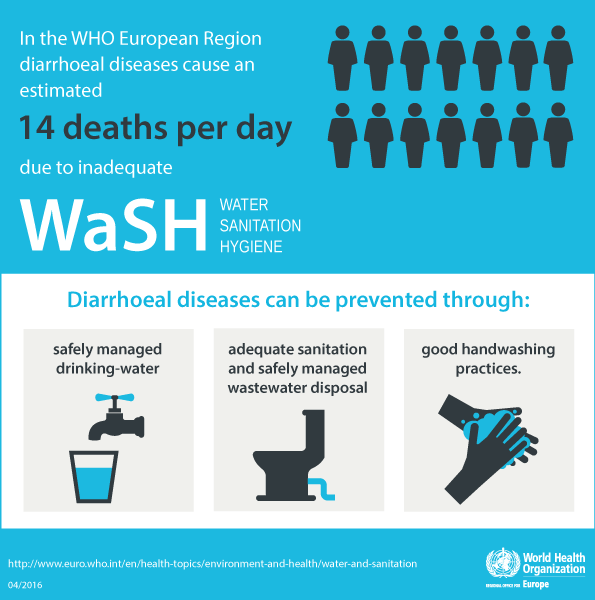 In the WHO European Region diarrhoeal diseases cause an estimated 14 deaths per day due to inadequate water sanitation and hygiene.
